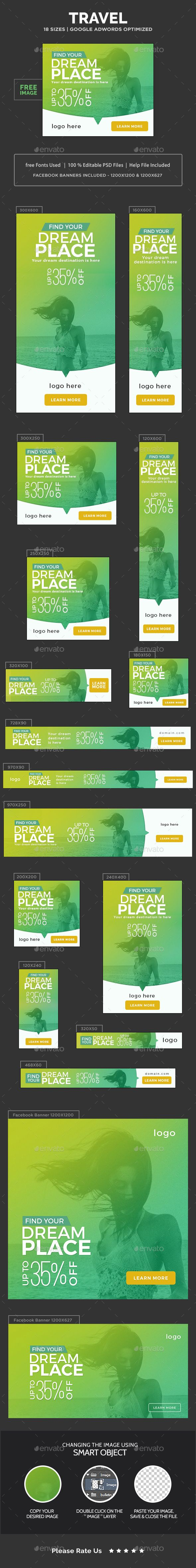 Travel Banners Template PSD. Download here: https://graphicriver.net/item/travel-banners/17617548?ref=ksioks