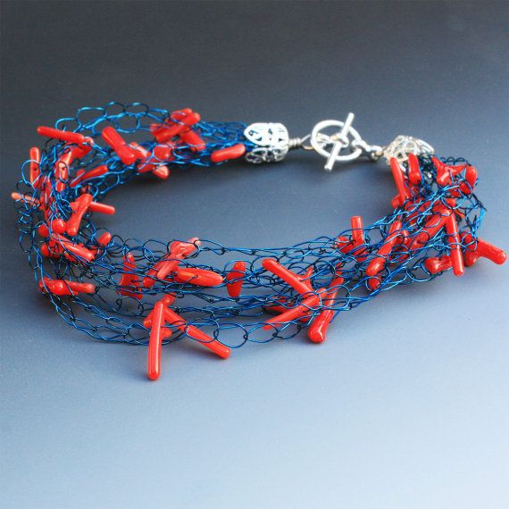 Crocheted Wire Bracelet With Red Corals by Aliona K on Etsy