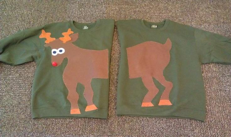 Matching Christmas Ugly Reindeer Sweaters. hahahahahaha