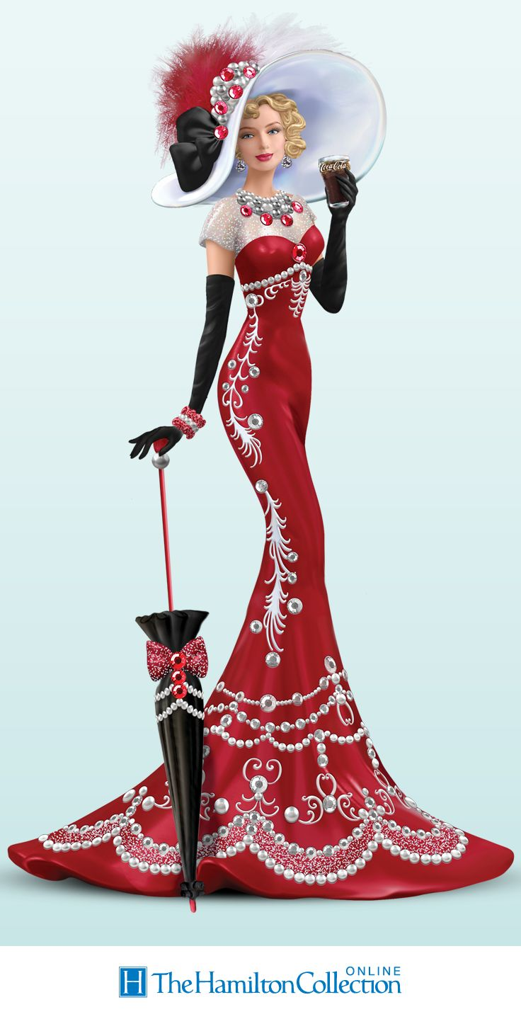 Limited edition. First-ever COCA-COLA lady figurine with 143 genuine Swarovski® crystals, glitter, real feathers. Holds replica COKE® glass.