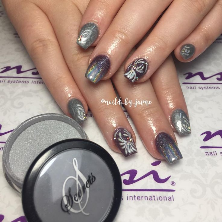 106 best nsi secrets nail art system images on pinterest nail silver and purple nails are a gorgeous combination of colors prinsesfo Gallery
