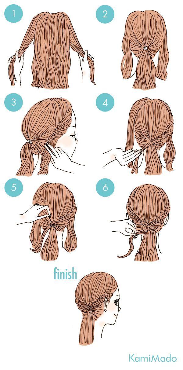 Tutorial de penteado baixo e fácil. Cabelo preso com o elástico escondido.