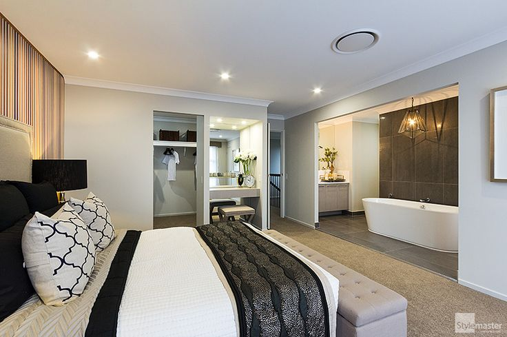 Master bedroom with ensuite, beauty station, shoe closet and walk-in-robe in the Milan by Stylemaster Homes.
