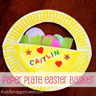 A simple paper plate Easter basket -- rainy day project.