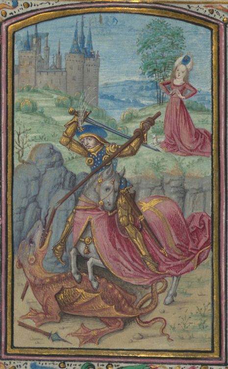 The Walters Art Museum, W.182, detail of f. 56v. Prayer book, Dutch; Flemish (1450 - 1475 CE, Utrecht). For St George's Day.