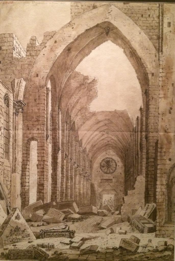 Plus loin dans l'expo #NapoléonParis, un dessin présente la démolition de #SainteGeneviève, pour percer la rue Clovis