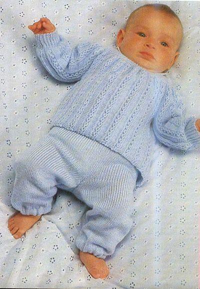 Вязание детям, вязание спицами и крючком с описанием, схемы, узоры, модели, журналы - Штанишки и джемпер новорожденному