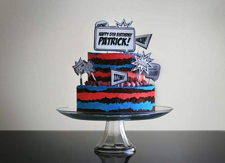 Super hero themed cake.