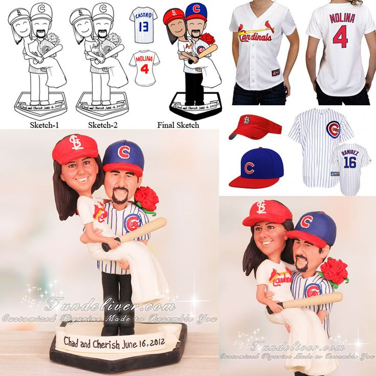 chicago cubs and st louis cardinals baseball wedding cake toppers except other way around lol