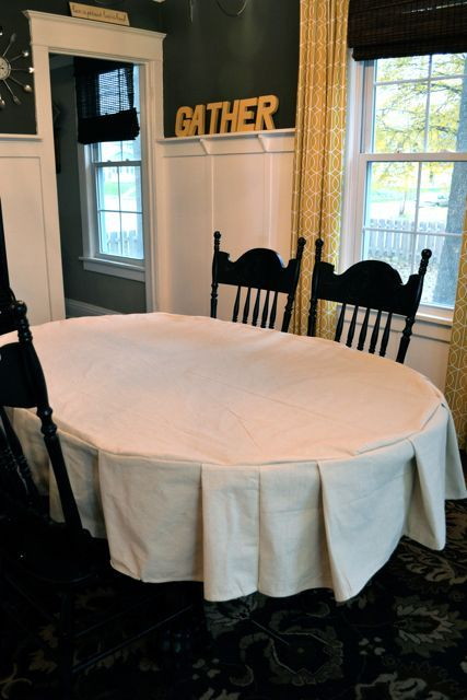Make a table cloth from a drop cloth for $10!  Great for Thanksgiving!  Everyone could write what they are thankful for :)