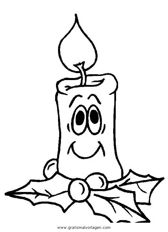 Gratis Malvorlage kerze 37 in Kerzen, Weihnachten zum ...