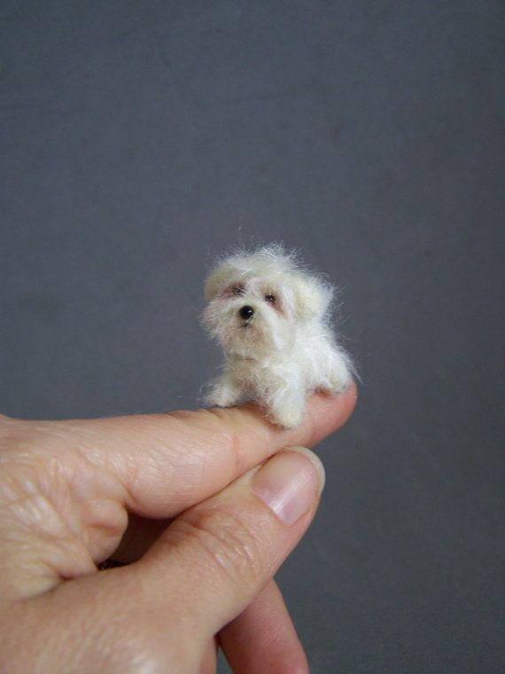 Ready to ship Ooak Needle Felted miniature dog  eco by ArteAnRy, €30.00