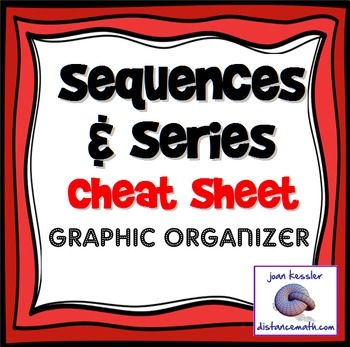 "Sequences and Series Formulas Cheat Sheet.All the formulas your students need to know in one concise cheat sheet / graphic organizer.  Each organizer is 3"" x 4"", perfect size to paste onto a page of a notebook, or onto an index card. You can also to add to a worksheet- just tape or glue before copying.Formulas include arithmetic, geometric, and recursive series."