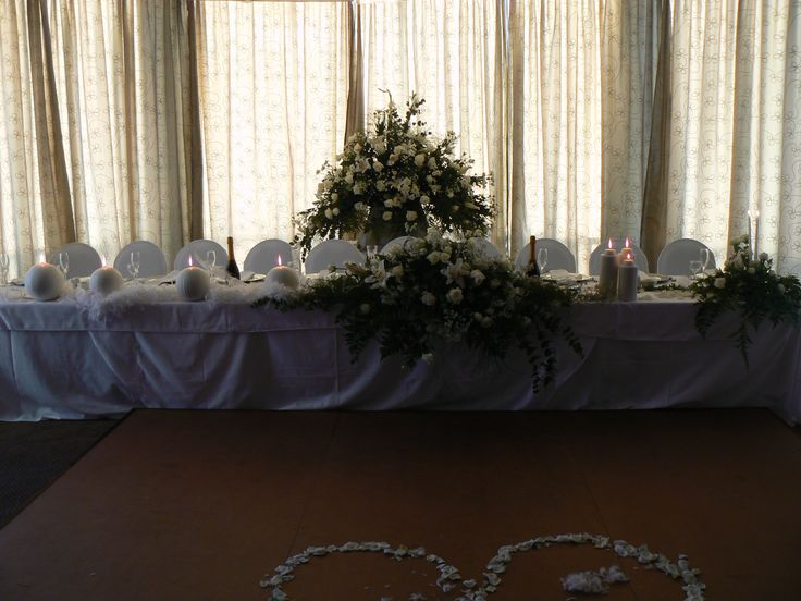 Centrepiece and candles at my daughter's wedding at the Seaside Hotel in Swakopmund, Namibia