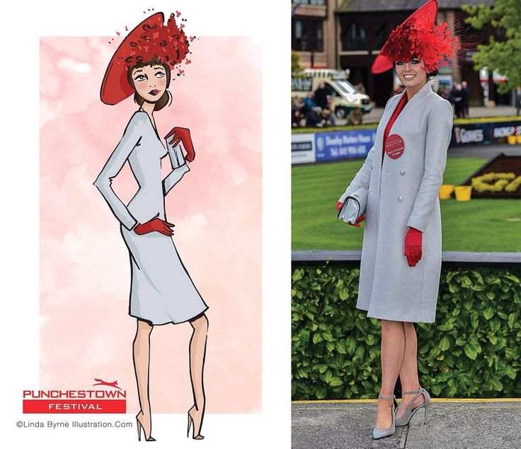 Linda Byrne Illustration. Fashion Illustration. Fashion drawing. Fashion sketching. Ladies Day illustration. At the races in Ireland. Ladies day Punchestown. www.lindabyrneillustration.com