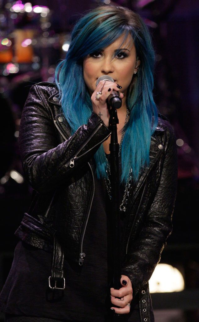 Blue hair, don't care! Demi Lovato added some serious flare to her locks.
