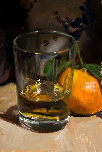 daily painting titled Still life with whisky and clementine
