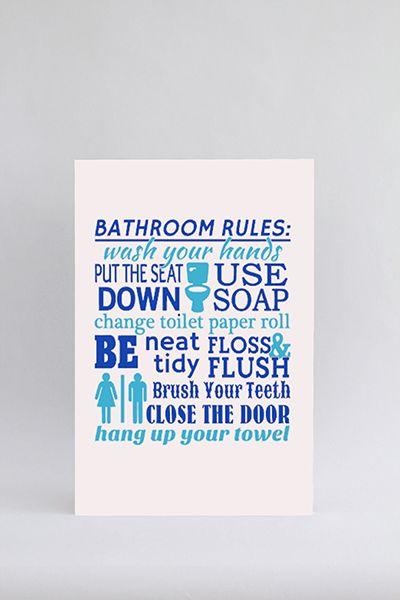 Tekstbord Bathroom rules. Prachtig tekstbord voor de wc / toilet of badkamer. Kies de afmeting, de kleur en de kleurcombinatie en stel het tekstbord zo naar uw wens samen.