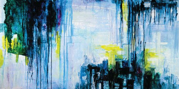 Blue Blood 72 x 36  Acrylic Abstract Painting by acasaARTstudio