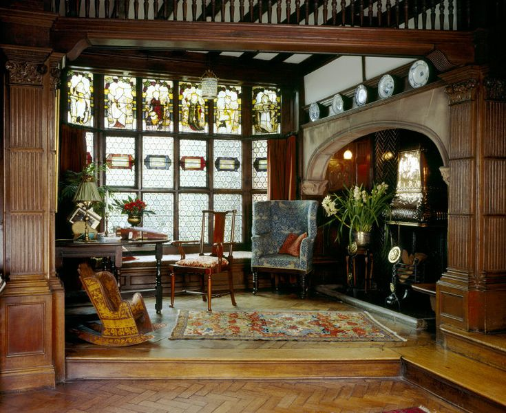 Wightwick Manor: The Hall Alcove. Many of the textiles in the house are by Morris & Co. Wightwick was built by the Victorian industrialist Theodore Mander and was given to the National Trust by his son Sir Geoffrey Mander in 1937. #William_Morris #Morris_and_Co #Wightwick_Manor