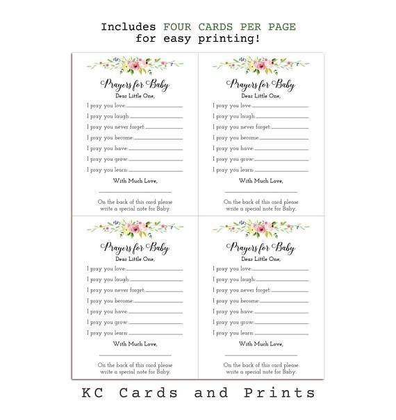Printable Prayers For Baby Card Digital File To Print Yourself