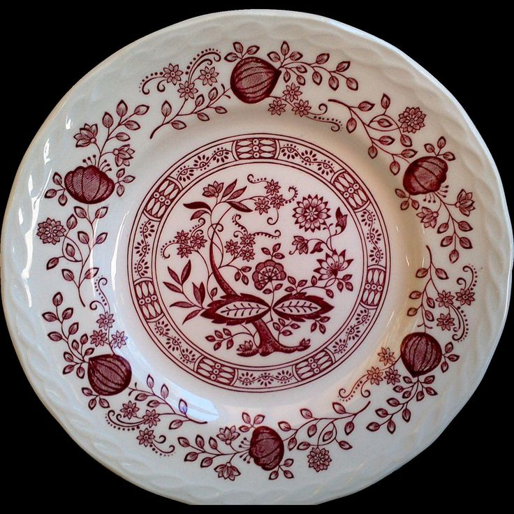 """Ironstone Red Transferware, """"Pink Onion"""" Royal Art, Floral Side Plate, 7"""" Plate, Serving, Wall Decor by CottonCreekCottage on Etsy"""
