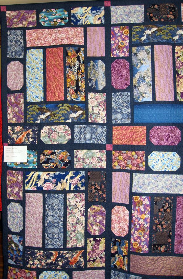 Quilt No: 18  Quilt Name:  Summer Palace Japanese Quilt    Made By:  Heather Bennett Pattern By:  Leesa Chandler Designs   Quilted By: Heather Bennett  Made on Retreat in Caloundra in 2013.