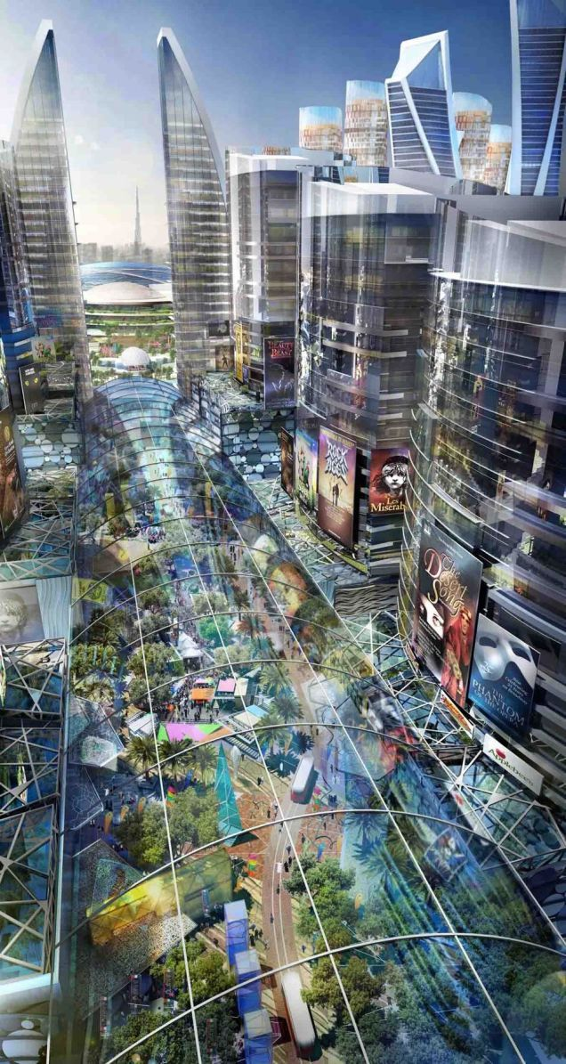 """Dubai is building""""the world's first climate-controlled city""""—it'sa4.3 mile pedestrian mallthat will be covered with a retractable dome t..."""