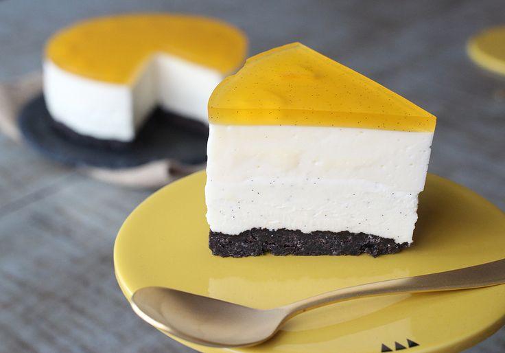 Cheesecake med mango og hvid chokolade - cutecarbs.com