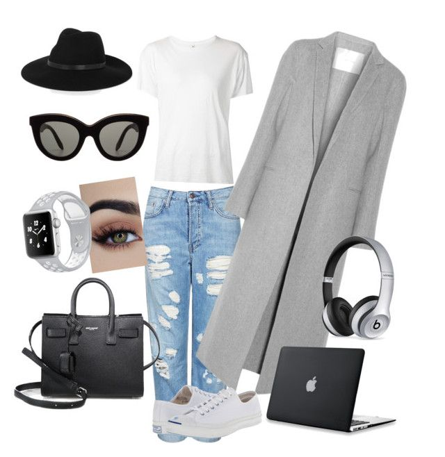 """""""Comfy and on trend"""" by erinjnolan on Polyvore featuring By Malene Birger, Topshop, ADAM, Converse, Victoria Beckham, R13, Yves Saint Laurent and Beats by Dr. Dre"""