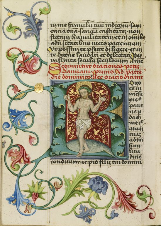 """Initial R: The Man of Sorrows,"" Workshop of Valentine Noh, c. 1470-1480. Note the exquisitely detailed background of red and gold behind Christ, and the vibrant colors used for the floral decoration in the margins. #manuscript"