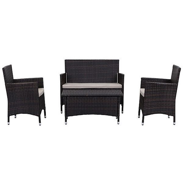 Ceuta 4-Pc Outdoor Set Brown Outdoor Lounge Sets ($619) ❤ liked on Polyvore featuring home, outdoors, patio furniture, outdoor loungers & day beds, outside patio furniture, outdoor garden furniture, weatherproof outdoor furniture, outdoors patio furniture and brown patio furniture