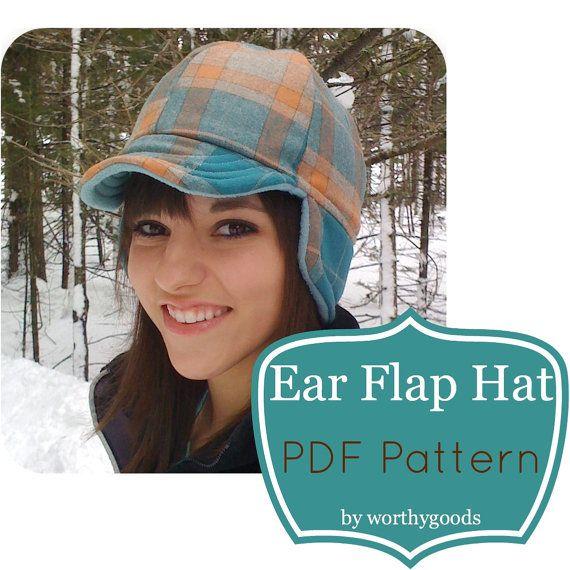 Ear Flap Hat PDF Sewing Pattern  Warm Winter Style by worthygoods