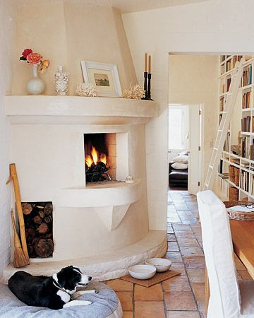 Fireplace in the kitchen.