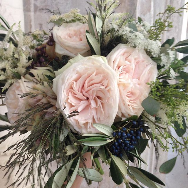 Flowers by Eileen Ting    Bridal bouquet featuring the O'Hara Garden Rose, in the perfect hint of blush