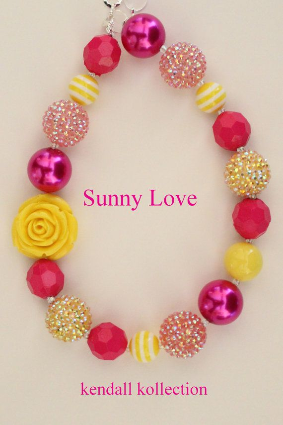 """Blair and Parker made this necklace....SOOOOOOO stinking cute!! I ordered all the beads (in tons of colors) online and they have lots more necklaces to create!  -JMW """"Sunny Love"""" Chunky Beaded Necklace for women, girls, kids"""