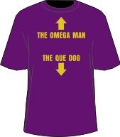 OMEGA MAN, QUE DOG T-SHIRT, PURPLE  Item Id: PRE-OMGMQDG-ST    Price: $39.00