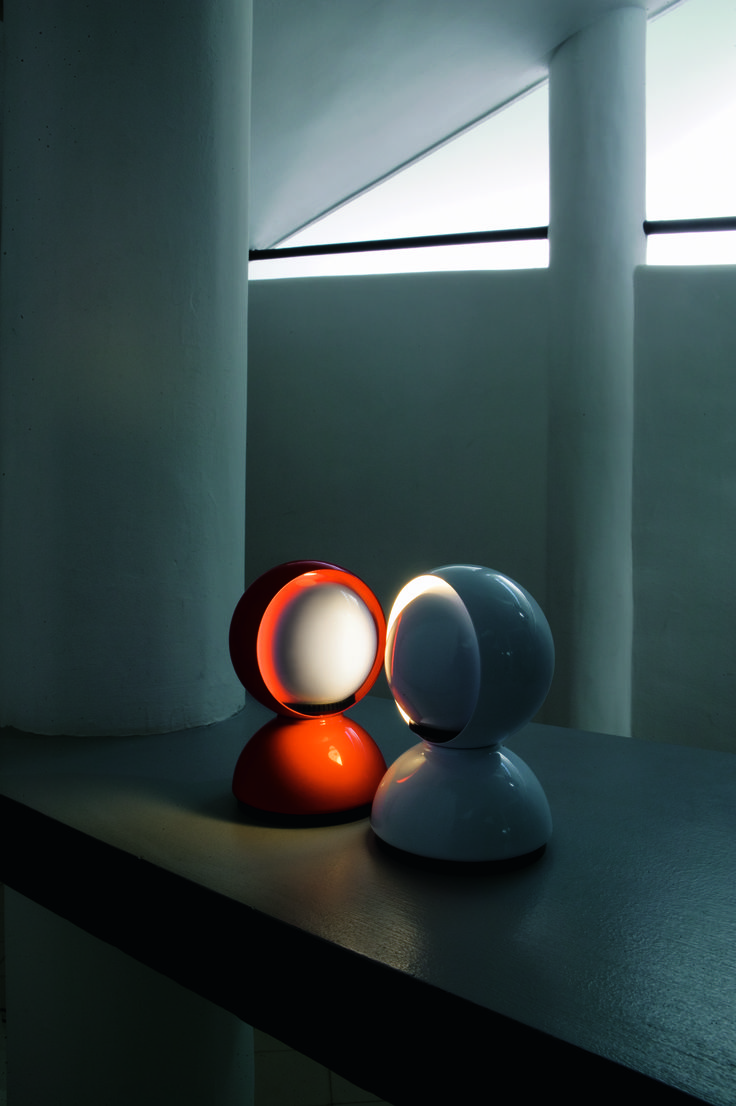 Eclisse White and Orange by Vico Magistretti (1967) http://www.artemide.us/?page=main/flypage&pageTitle=Eclisse%20photo%202&product_id=1034&layout=features