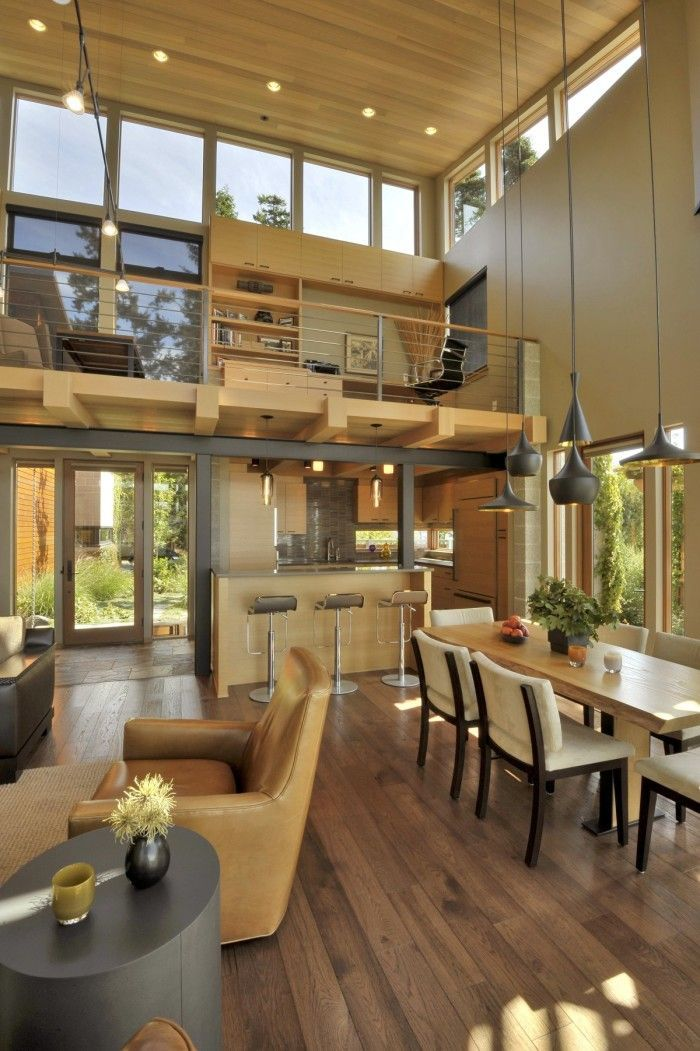 Upstairs Office Overlooking Living Area Walled In By Urban Loft Style Indoor Windows Kitchenin Beautiful Houses Interior Home Interior Design House Interior