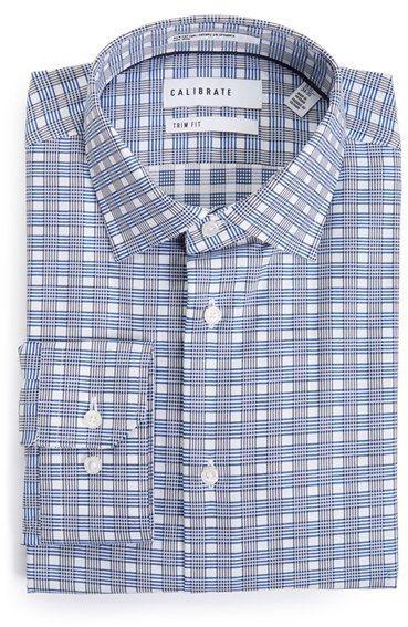 Men's Calibrate Trim Fit Non-Iron Plaid Dress Shirt