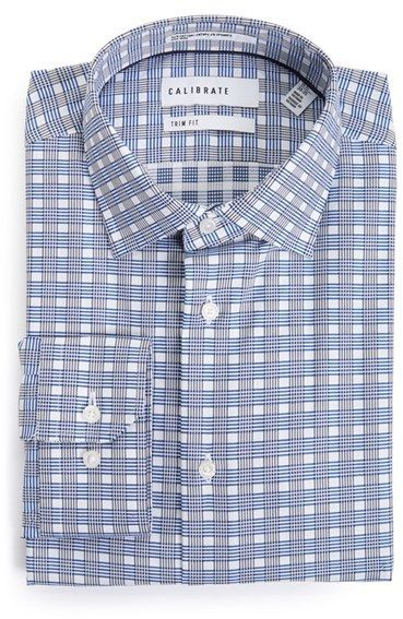 Men's Calibrate Trim Fit Non-Iron Plaid Dress Shirt