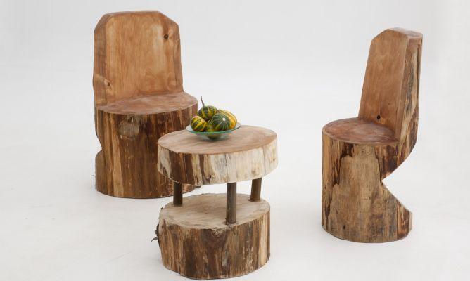 C mo crear una silla con un tronco de madera mesas for Mesas y sillas rusticas