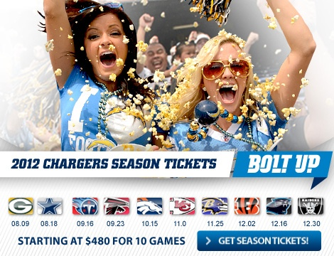San Diego Chargers   Chargers Tickets