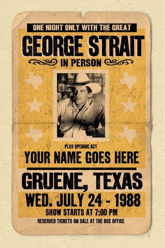 george strait concert poster 12 x18