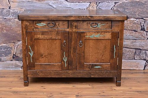 Have your guest talking with this one-of-a-kind piece. Made from alder wood with turquoise inlay.    � Hand-crafted alder wood  � Matching dining, bedroom and occasional pieces available  � Available in two finishes. Contact our Colorado furniture store for more information.    Dimensions:    42?w x 19?d x 29 1/2?t