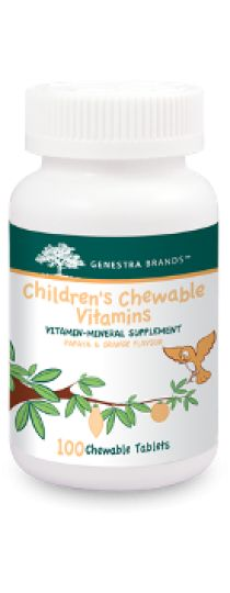 Children's Chewable Vitamins by Genestra Children's Chewable Vitamins provides a great-tasting orange and papaya-flavoured combination of vitamins, minerals, antioxidants and bioflavonoids in the proper ratio for supportting children's normal growth and development.