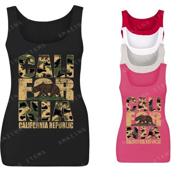 California Republic Vintage Camo Women Tank Top California Tank Tops ($7.59) ❤ liked on Polyvore featuring tops, black, tanks, women's clothing, print top, cotton tank, camoflauge tank top, vintage tanks and camouflage tank tops