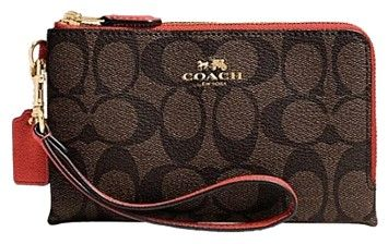 Coach Double Corner Zip In Signature Brown/Carmine Wristlet on Sale, 43% Off   Wristlets on Sale at Tradesy