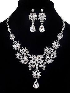 Juego de joyas de diamantes de imitación Juego de joyas de cuentas de 2 piezas