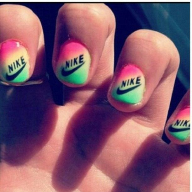Now onto Nike nails--haha same thing as Starbucks logos try printing them out!!! Or you can use a nail art tool to draw it on!!